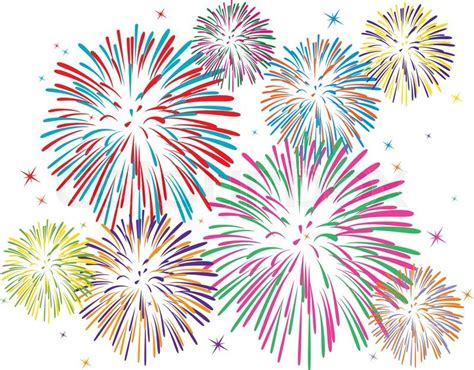 new year graphic and background vector colorful fireworks on white background stock