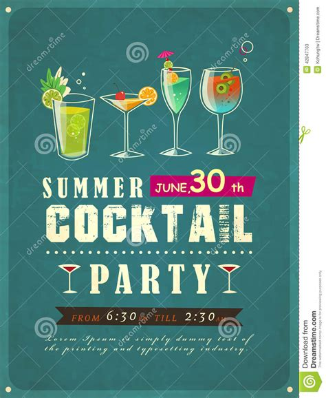 vintage cocktail posters summer cocktail party poster stock vector illustration