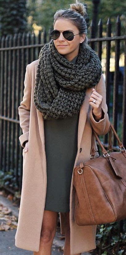 how to wear knit wraps picture of an olive green mini dress a camel coat and a