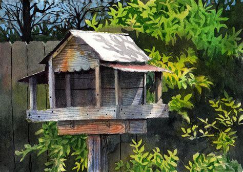 Backyard Bird Feeders by Backyard Bird Feeder Painting By Jeff Atnip