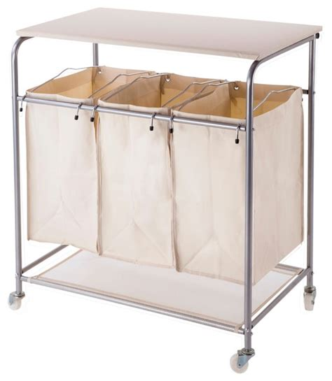 sectioned laundry her heavy duty laundry sorter with ironing board and wheels