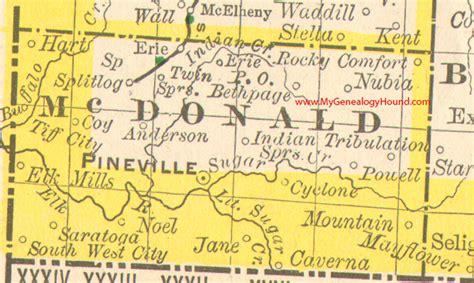 rocky comfort missouri mcdonald county missouri 1888 map pineville south west city