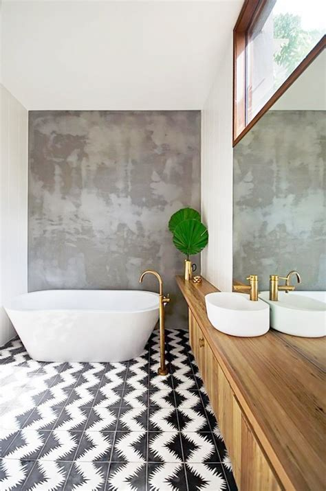 bathrooms with black and white tile floor wood floors top 6 bathroom tile trends for 2017 the luxpad