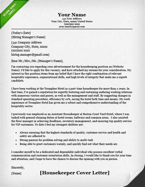 Cover Letter Exle Housekeeping Housekeeping And Cleaning Cover Letter Sles Resume Genius