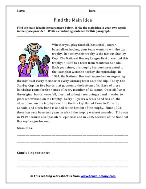 6th Grade Main Idea Supporting Details Lessons Tes Teach | main idea and supporting details passages 6th grade main