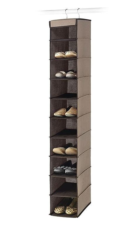 hanging shoe organizer essential home 10 shelf hanging shoe organizer