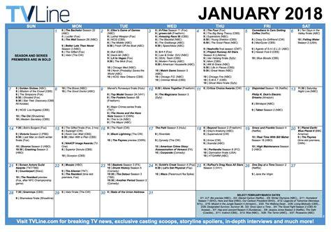 Calendar Tv Tv Calendar January 2018 Premiere And Finale Dates Tvline