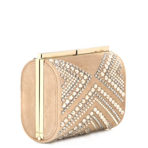 Jimmy Choo Metallic Calfskin Handbag by Lyst Jimmy Choo Embellished Suede Clutch Bag In Metallic