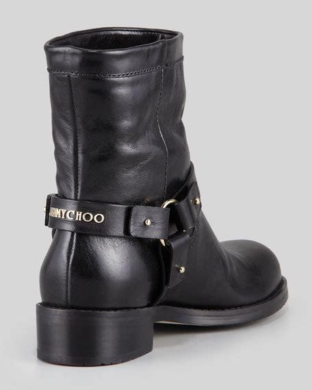 low moto boots jimmy choo dixi shiny calfskin low moto boot black