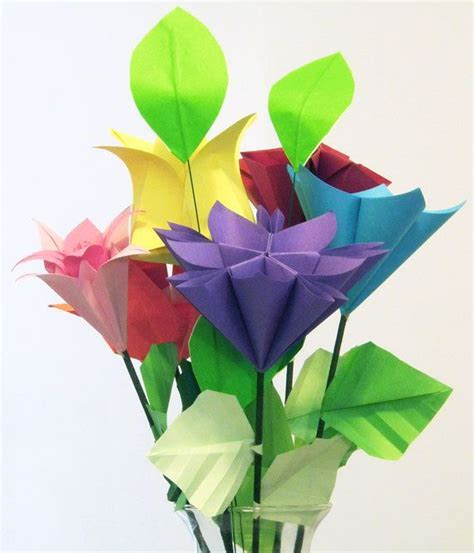 Origami Tulip Bouquet - origami mixed flower bouquet