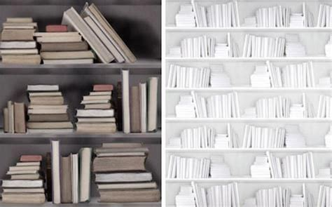 faux library finishes vintage bookshelf wallpaper