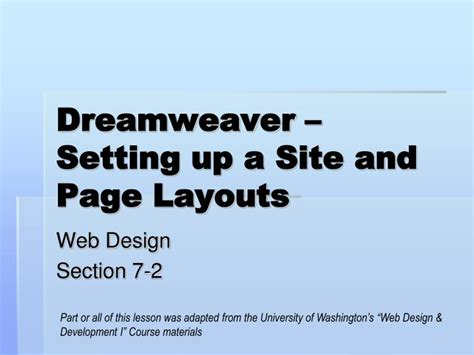 dreamweaver tutorial ppt ppt dreamweaver setting up a site and page layouts
