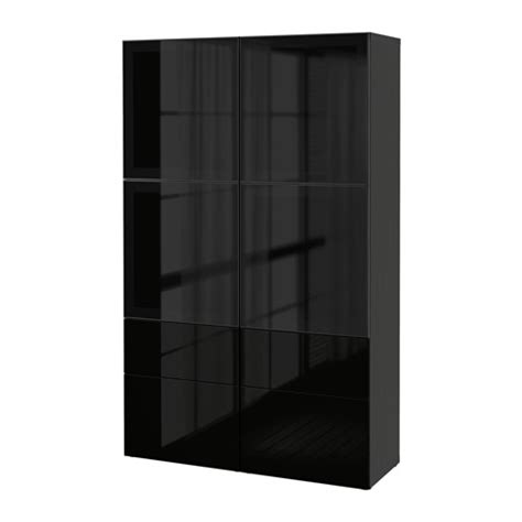 ikea besta glass best 197 storage combination w glass doors black brown