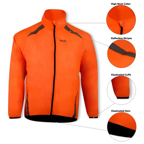orange cycling jacket cycling waterproof rain jacket lightweight high visibility