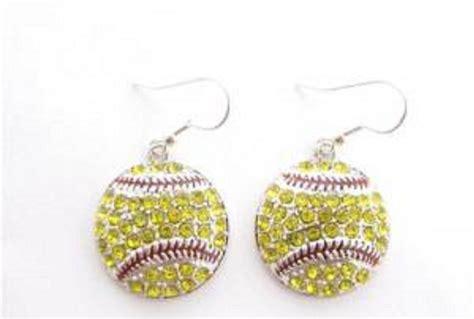 softball rhinestone hook earrings