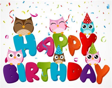 clipart auguri compleanno biglietto di auguri per il compleanno felice con il gufo
