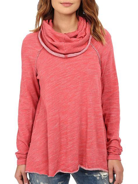 cowl neck raglan sleeve sweatshirt fashionmia