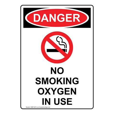 no smoking sign use portrait osha no smoking oxygen in use sign with symbol