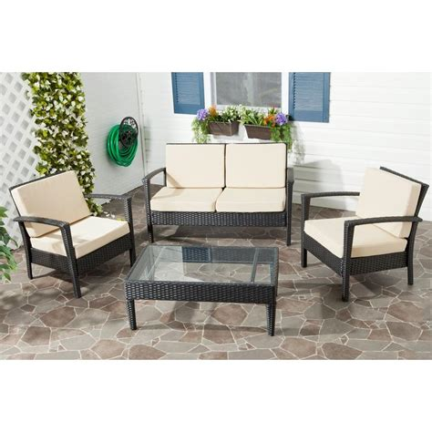 safavieh piscataway charcoal 4 piece wicker patio seating
