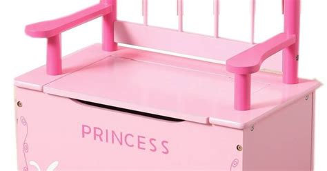 princess toy chest bench amazon co uk pink princess wooden bench and toy chest