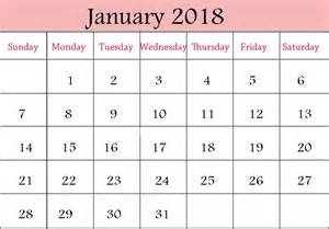 Calendar 2018 January January 2018 Printable Calendar Templates