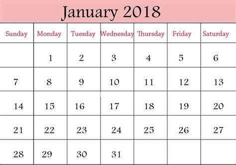 january 2018 calendar with holidays printable printable templates
