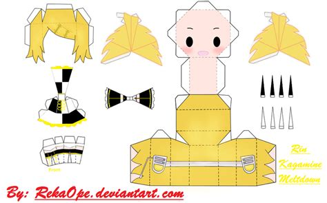 Kaito Papercraft - rin kagamine meltdown ver 2 papercraft by rekaope on