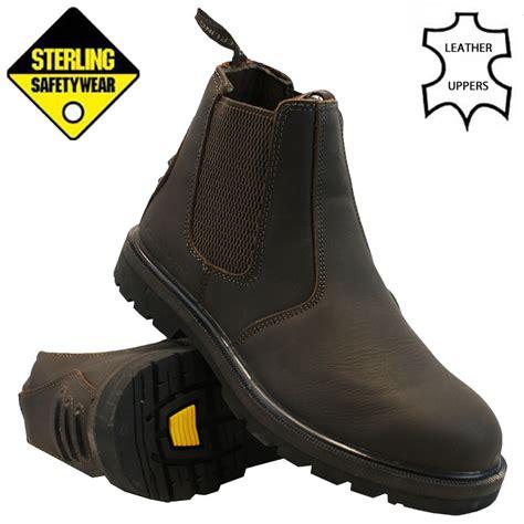 mens sterling leather chelsea dealer safety boot steel toe