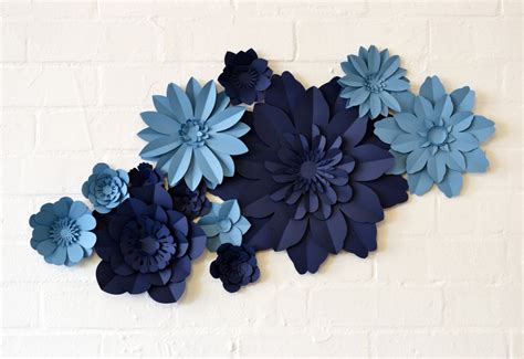 Handmade Paper Flowers - handmade two colour paper flower wall display