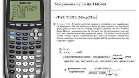 calculator z test statistic 2 proportion z test hypothesis testing ti 83 ti 84