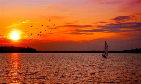 Late Sunset Sail Boat Sunset Sunset Sailing Birds Sweden Boat Nature Ultra 2560x1600 Hd