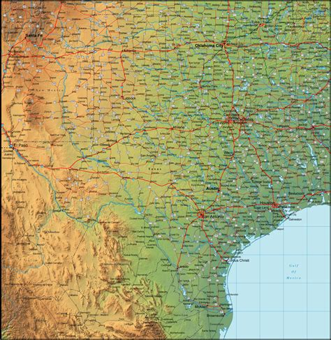 detailed texas map map of texas and the surrounding region