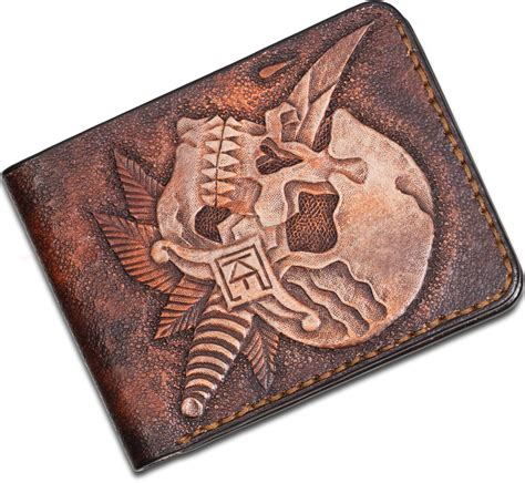custom knife factory handmade leather wallet skull and
