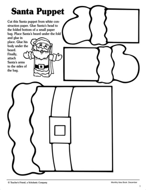 pattern for paper bag puppet santa paper bag puppet pattern scholastic printables