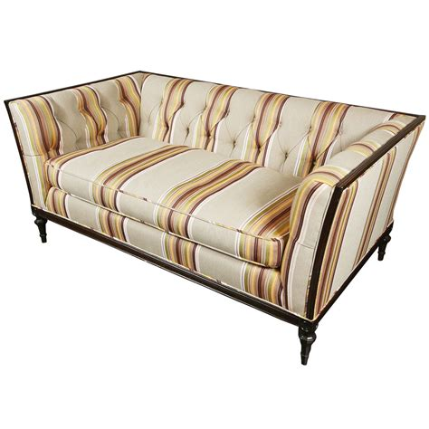 striped sofa and loveseat french multi striped tufted loveseat at 1stdibs