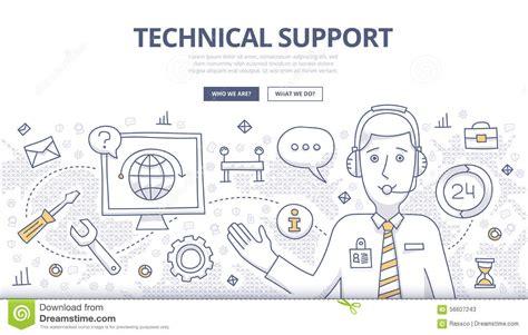 doodle center technical support doodle concept stock vector image