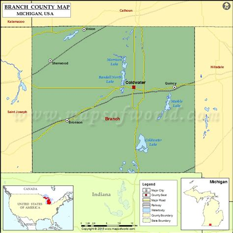 branch county map michigan