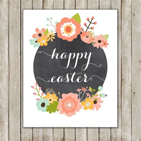 printable happy easter poster 8x10 happy easter printable art typography art poster