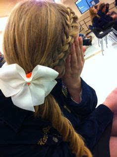 hairstyles for softball games french braid all the way down into a ponytail add a bow