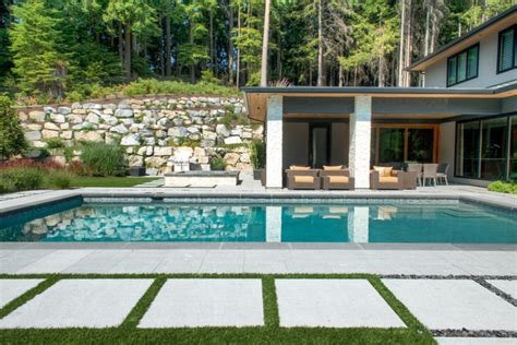 coastal gray granite pool and patio west vancouver