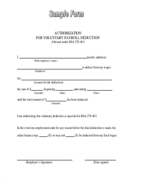 payroll deduction form sles 9 free documents in word