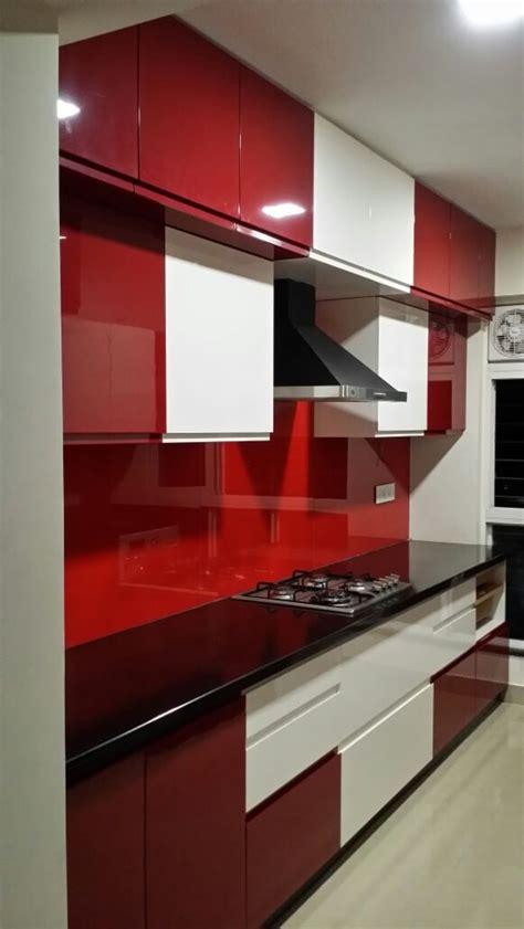 red  white modular parallel kitchen  shreesamarth