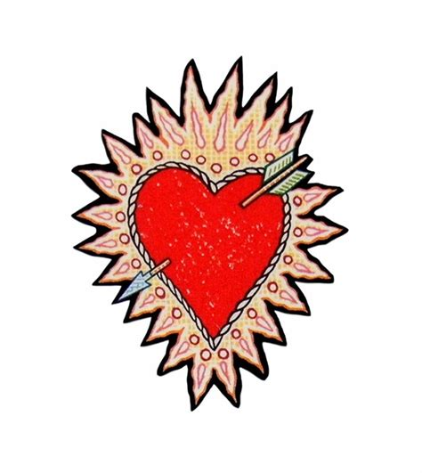 sacred heart iron on patches tattoo rockabilly thorn arrow