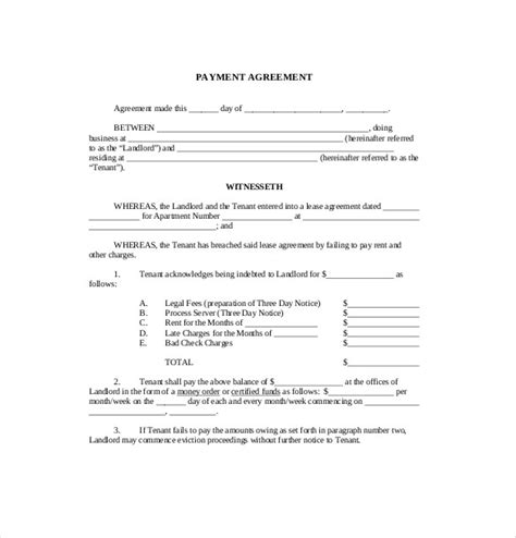 free agreement templates 11 payment agreement templates free sle exle