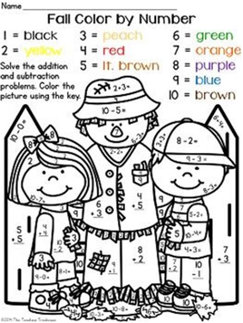 autumn math coloring pages colors student and number worksheets on pinterest