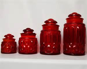 Red Glass Kitchen Canisters Vintage Ruby Moon Amp Star Depression Glass Set Of 4