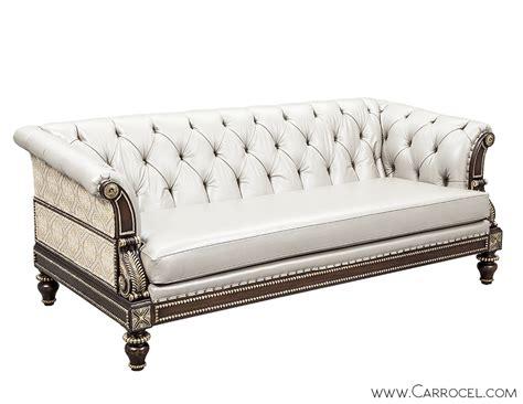 Custom Leather Tufted Silver Leaf Carved Sofa Carrocel Silver Tufted Sofa