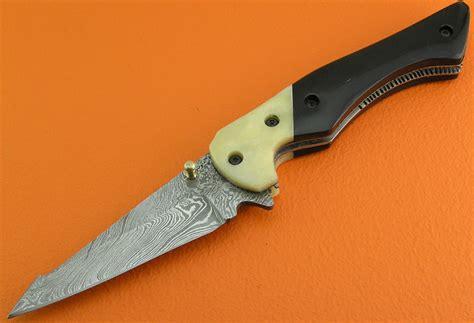 damascus steel folding knife liner lock damascus folding knife custom handmade damascus steel