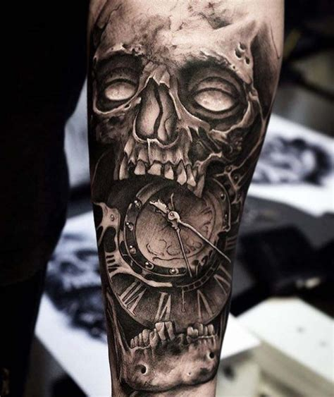 tattoo black and grey skull grey skull tattoo clockface best tattoo ideas gallery
