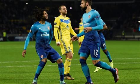 arsenal bate el nenny takes part in arsenal s 4 1 win over bate borisov